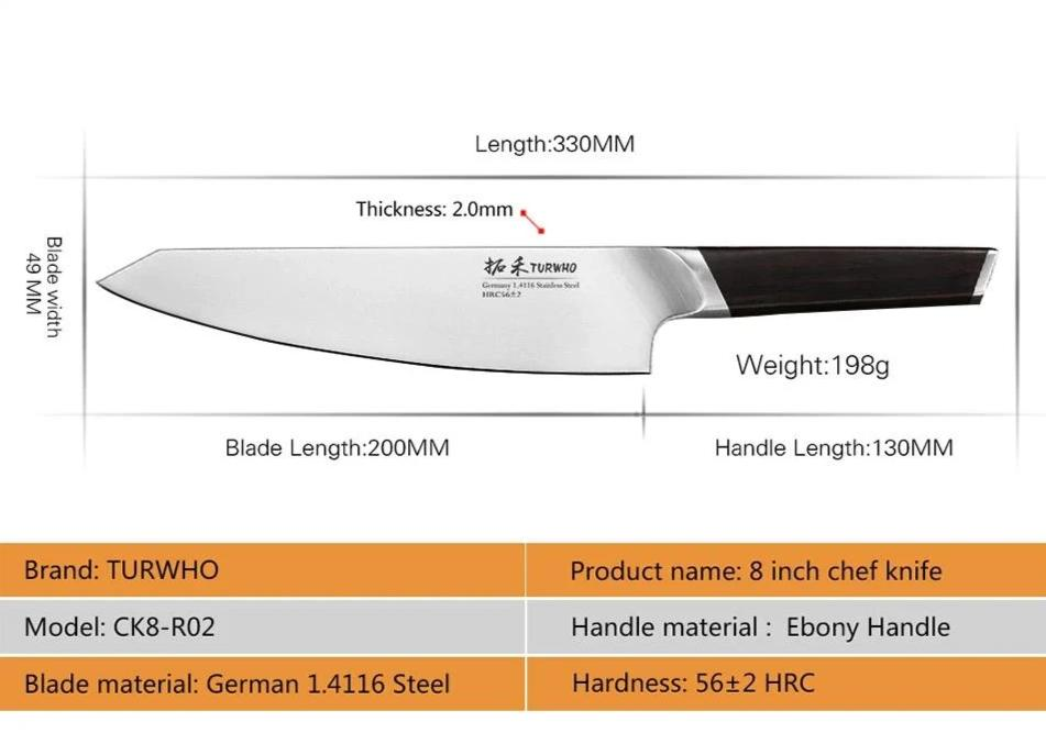 8 Inch Stainless Steel Chef Knife - Modern Ebony Handle