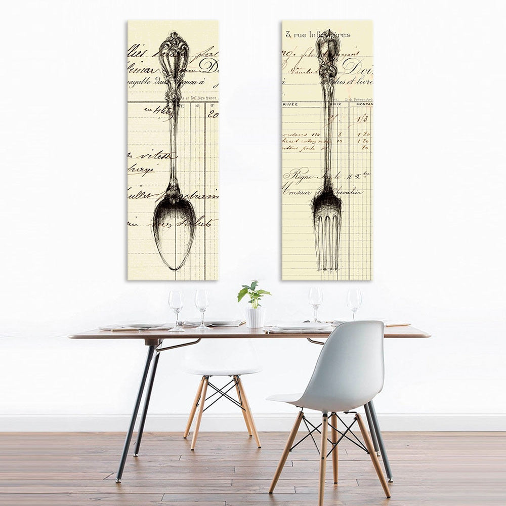 Spoon and Fork - Sketch-Style Vintage Wall Art-wall art-Chef's Quality Cookware