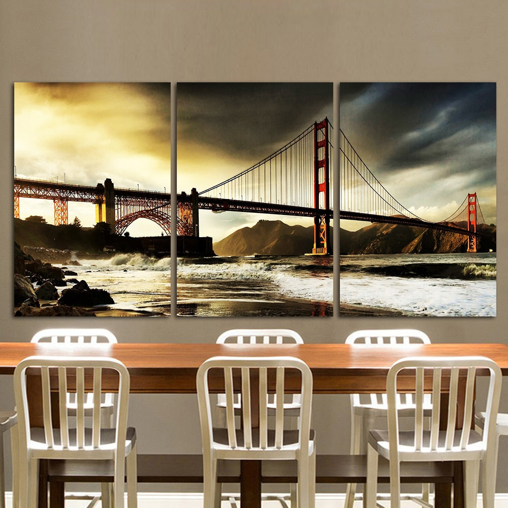 Golden Gate Bridge - 3-Panel Dramatic Wall Art-wall art-Chef's Quality Cookware