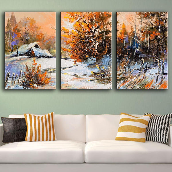 Country Home in Winter - 3-Panel Canvas Wall Art-wall art-Chef's Quality Cookware