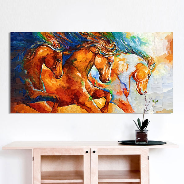 Three Horses Charging - High-Quality Canvas Print-wall art-Chef's Quality Cookware