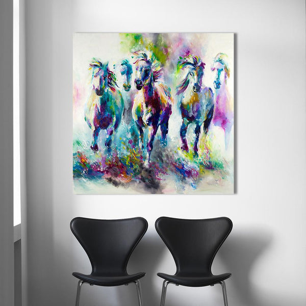 Five Galloping Horses - High-Quality Canvas Wall Art-wall art-Chef's Quality Cookware