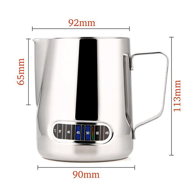Stainless Steel Milk Frothing Jug with Thermometer