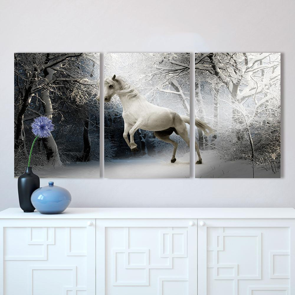 The White Horse In Winter - 3 Panel Canvas Wall Art-wall art-Chef's Quality Cookware