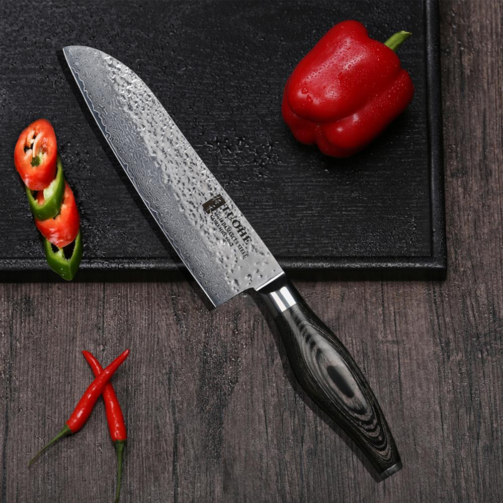180mm Santoku Chef Knife - Black Tapered Pakkawood Handle