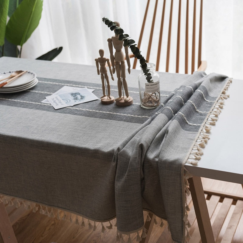 Decorative Two-Toned Grey Tablecloth-tablecloth-Chef's Quality Cookware