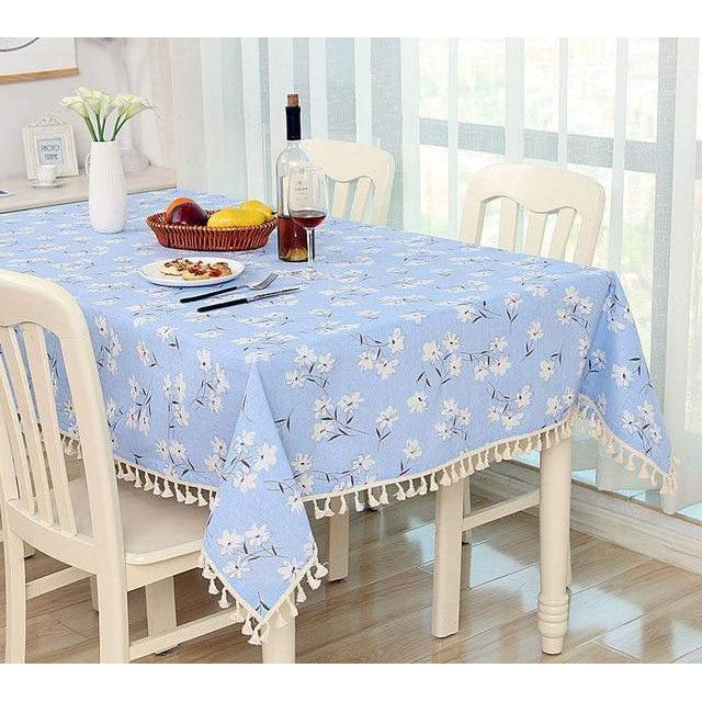 Blue Floral Print Dining Tablecloth-Tablecloth-Chef's Quality Cookware