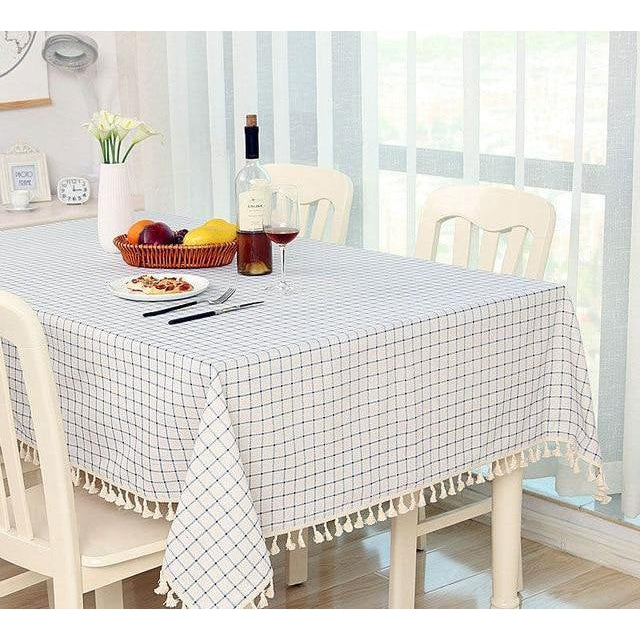 White Checkered Dining Tablecloth-Tablecloth-Chef's Quality Cookware