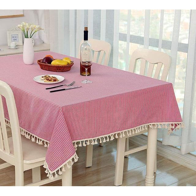 Pink Striped Tablecloth-Tablecloth-Chef's Quality Cookware
