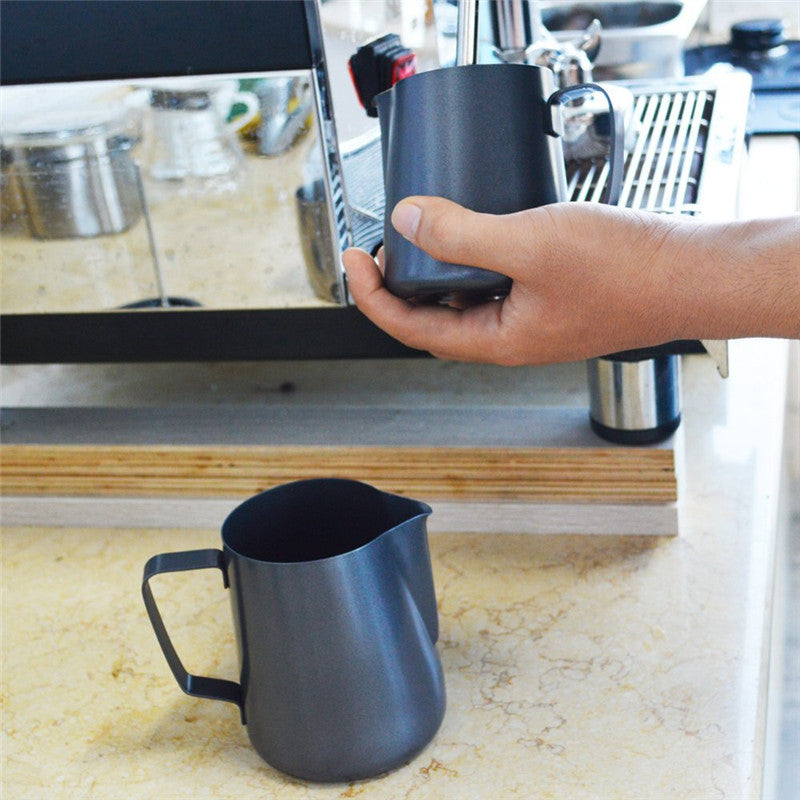 Ebony Stainless Steel Milk Frothing Jug For Lattes & Cappuccinos