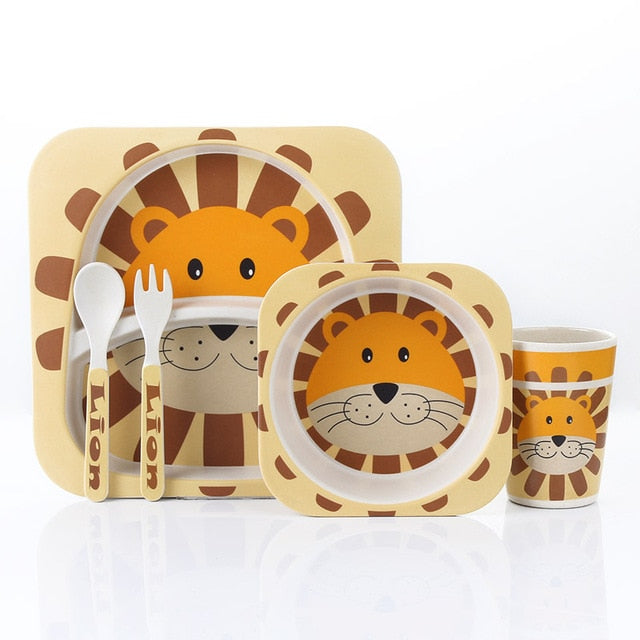 Whiskered Lion - Kids, Toddler & Baby Dinner Set - 100% sustainable bamboo fiber