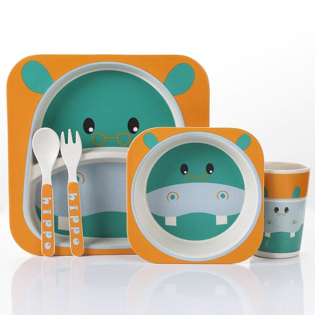 Green Hippo - Kids, Toddler & Baby Dinner Set - 100% sustainable bamboo fiber