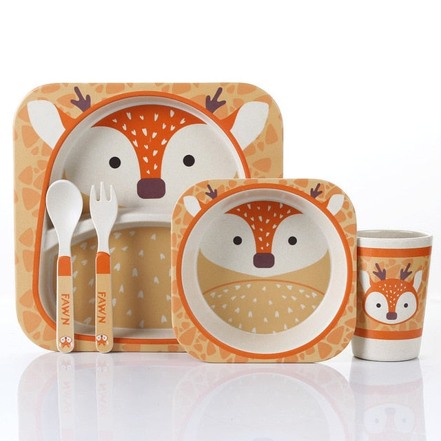 Speckled Fawn - Kids, Toddler & Baby Dinner Set - 100% sustainable bamboo fiber