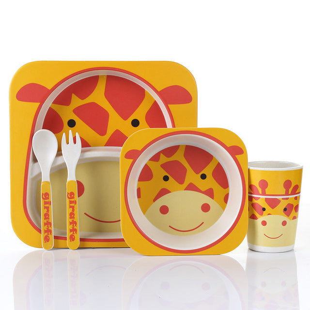 Spotted Giraffe - Kids, Toddler & Baby Dinner Set - 100% sustainable bamboo fiber