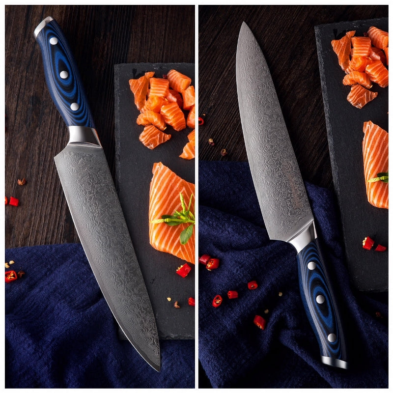 Damascus Steel Chef Knife With Blue Handle (20 cm / 8 Inch)-chef knife-Chef's Quality Cookware