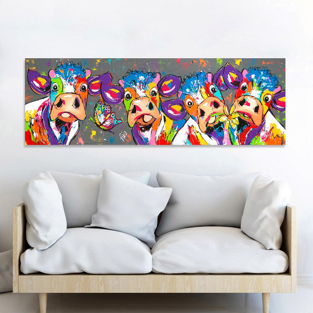 Curious Cows In Rainbow Hues - Rectangular Canvas Print-wall art-Chef's Quality Cookware