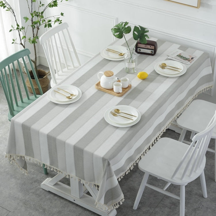White & Grey Striped Tablecloth-Tablecloth-Chef's Quality Cookware