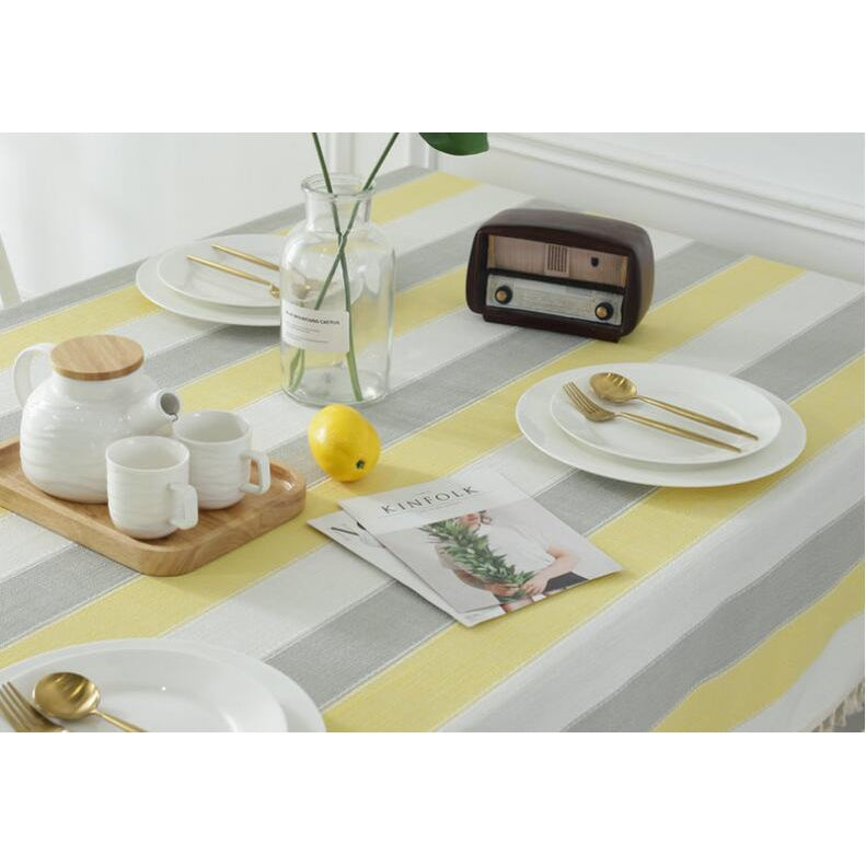 Yellow, White & Grey Striped Tablecloth-Tablecloth-Chef's Quality Cookware