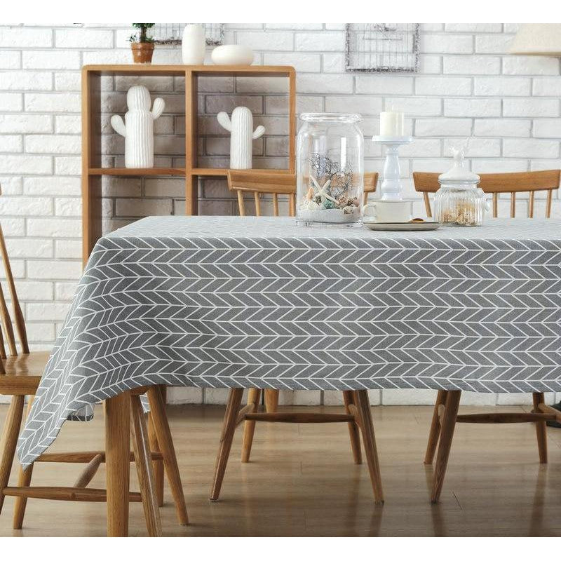 Grey Chevron Pattern Minimalist Tablecloth-Tablecloth-Chef's Quality Cookware