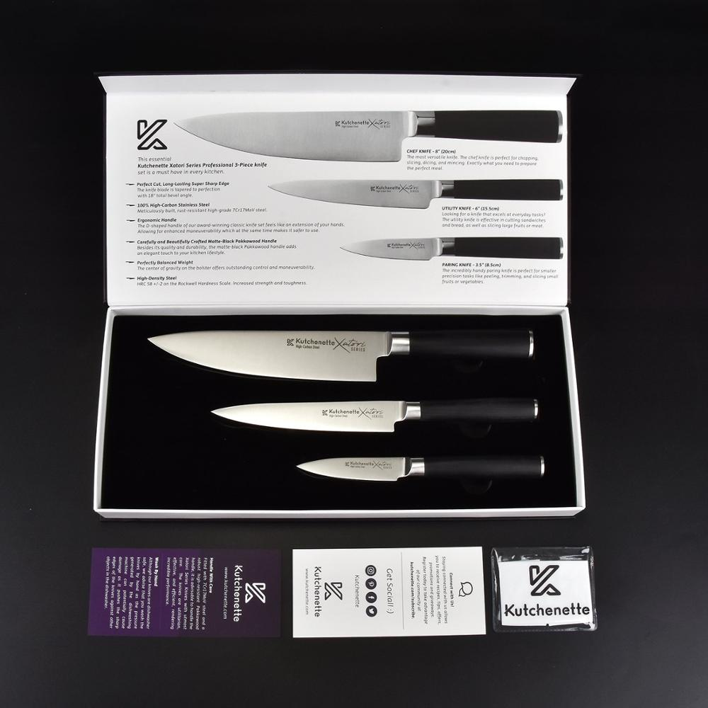 3 Piece Knife Set with Matte Black Handles