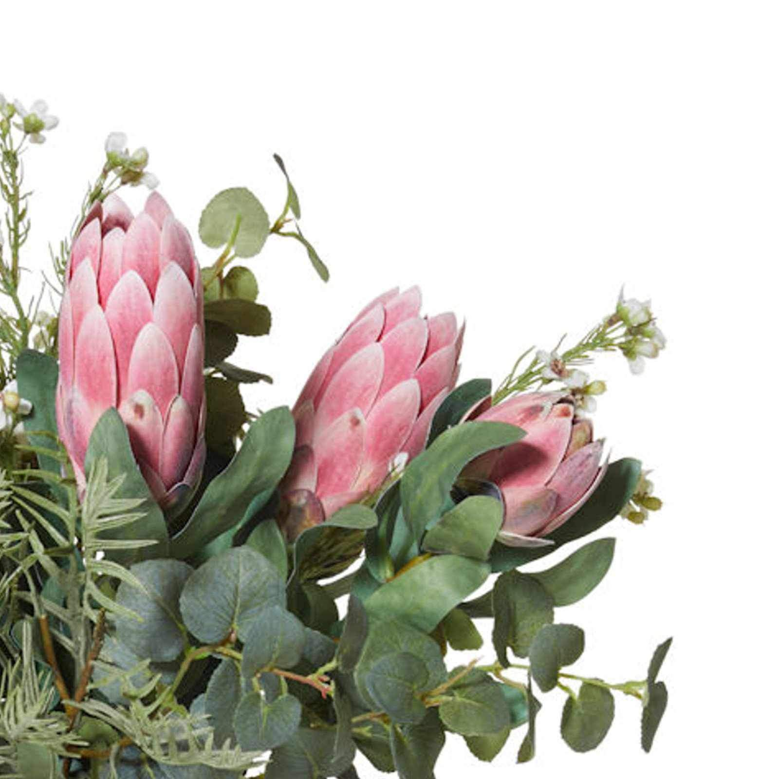 Protea Floral Mix with Pail Vase - Artificial Flower Arrangement-artificial flowers and plants-Chef's Quality Cookware