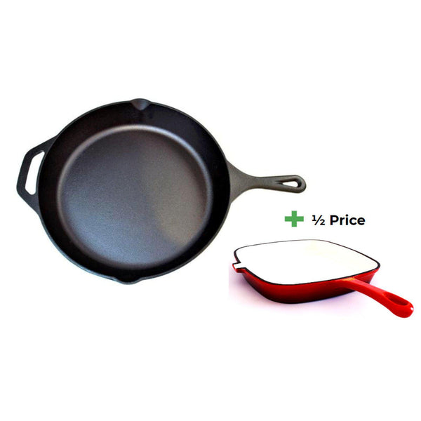 Chef's Quality Cast Iron Skillet and Griddle Bundle-Frying Pan-Chef's Quality Cookware
