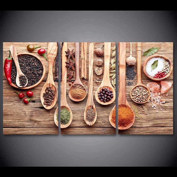 Spoons and Spices - 3-Panel Canvas Kitchen Wall Art-wall art-Chef's Quality Cookware