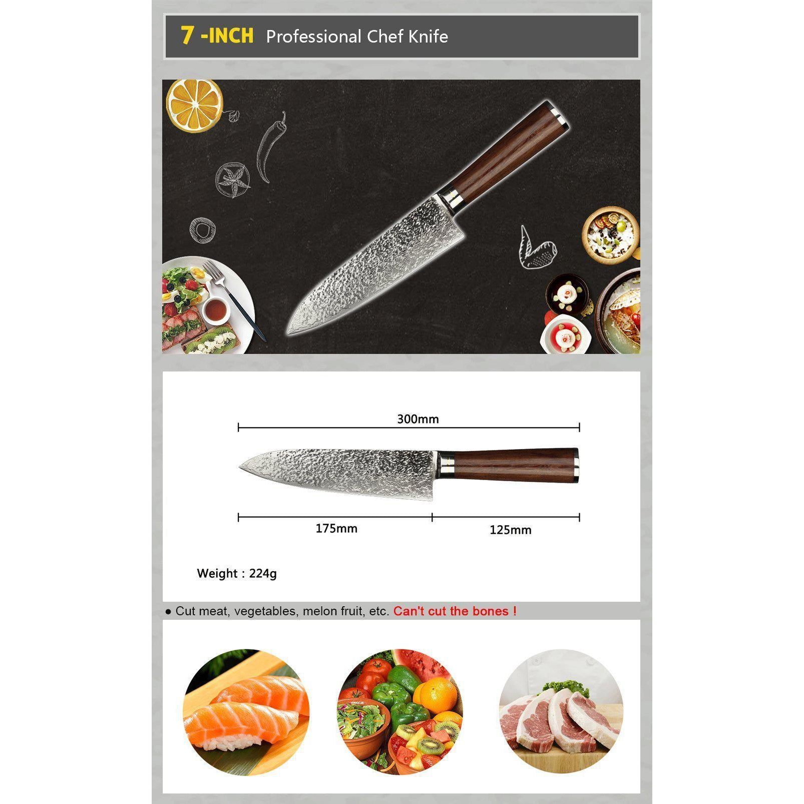 Sunlong 18cm Chef's Knife with Wooden Handle-chef knife-Chef's Quality Cookware