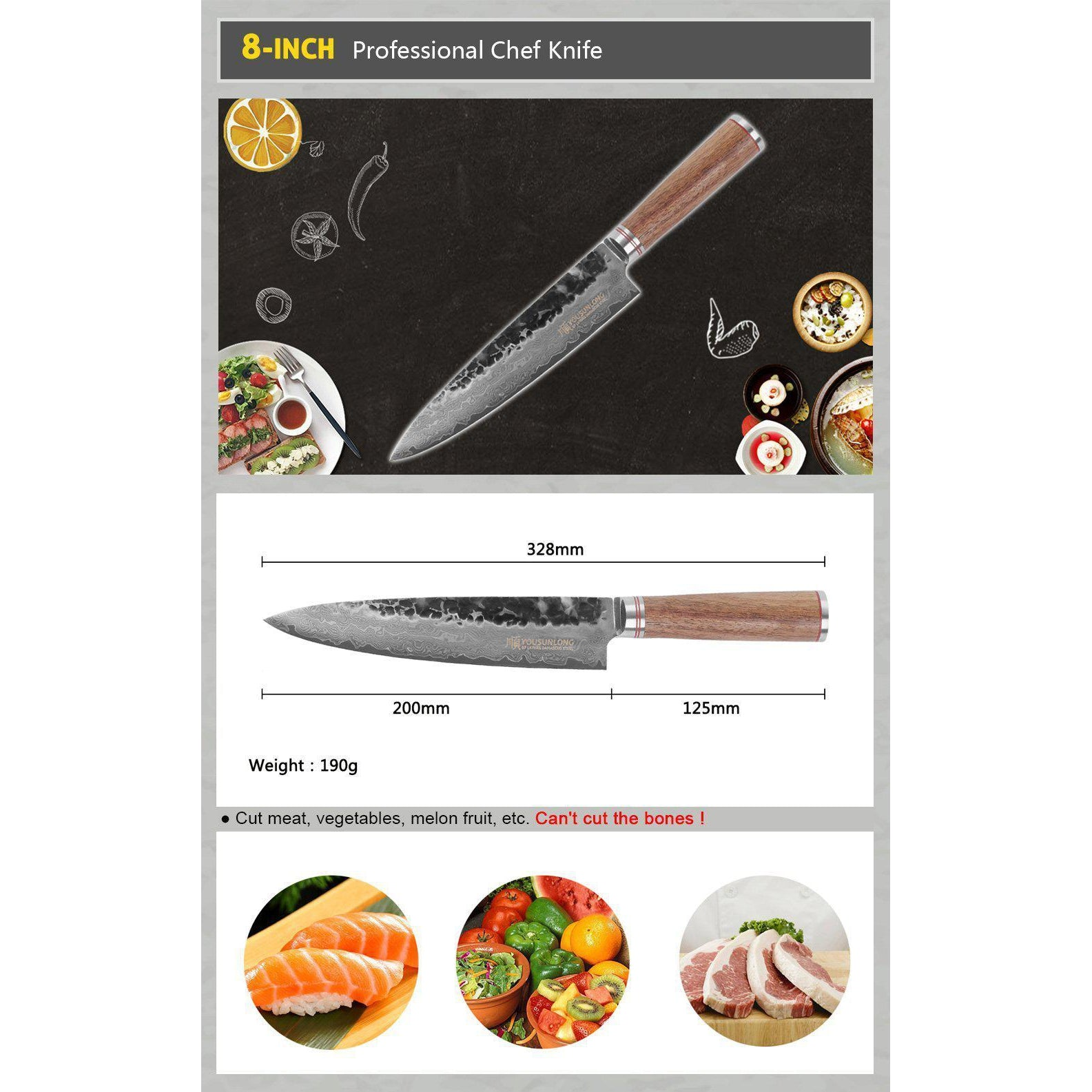 Sunlong 20cm Professional Chef Knife With Walnut Wood Handle-chef knife-Chef's Quality Cookware