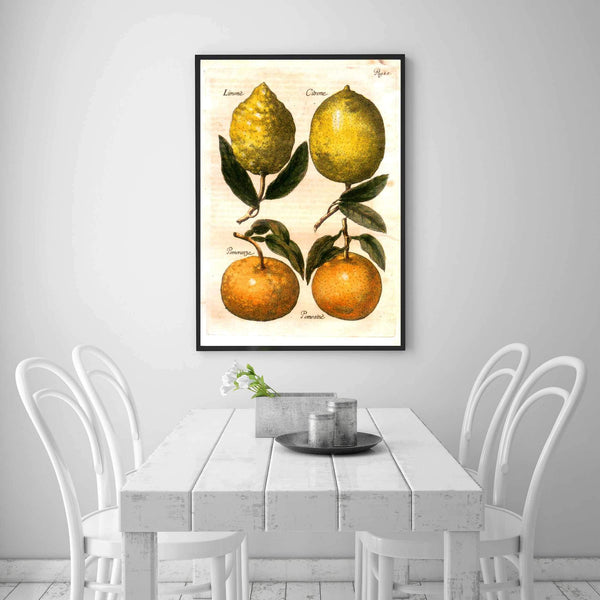 Vintage Citrus Kitchen & Dining Room Wall Art Painting - Wall Decoration Print-wall art-Chef's Quality Cookware