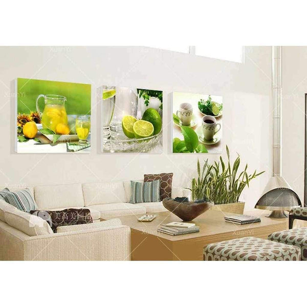 Lemons and Limes - 3-Panel Dining Room Wall Art-wall art-Chef's Quality Cookware