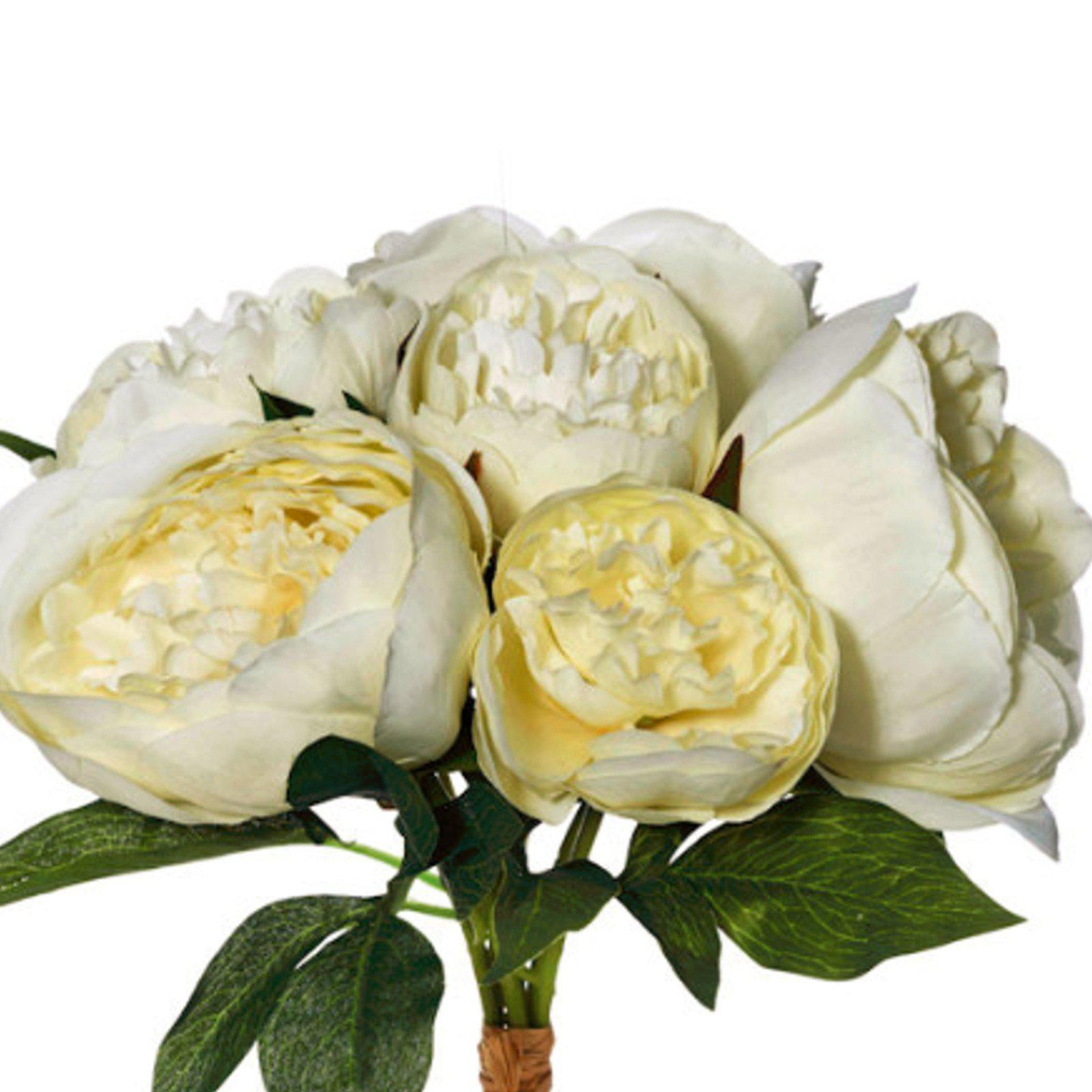 White Peony Bouquet - Artificial Flower Arrangement-artificial flowers and plants-Chef's Quality Cookware