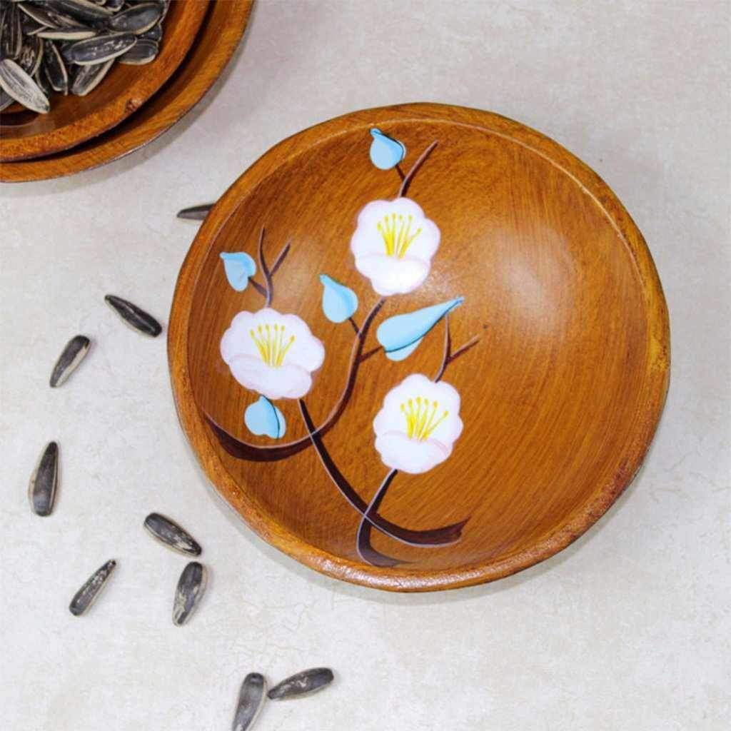 Wooden Serving Bowl Chinese Style Hand Painted With Flowers-Tableware-Chef's Quality Cookware