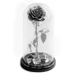The Beauty and the Beast contains one silver eternity rose, picked at the point of perfection and preserved to last at least one year. Rose in glass dome