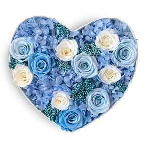 Mon Amour Luxury Floral Arrangement, Heart shape Rose box, Flowers, Baby Blue box