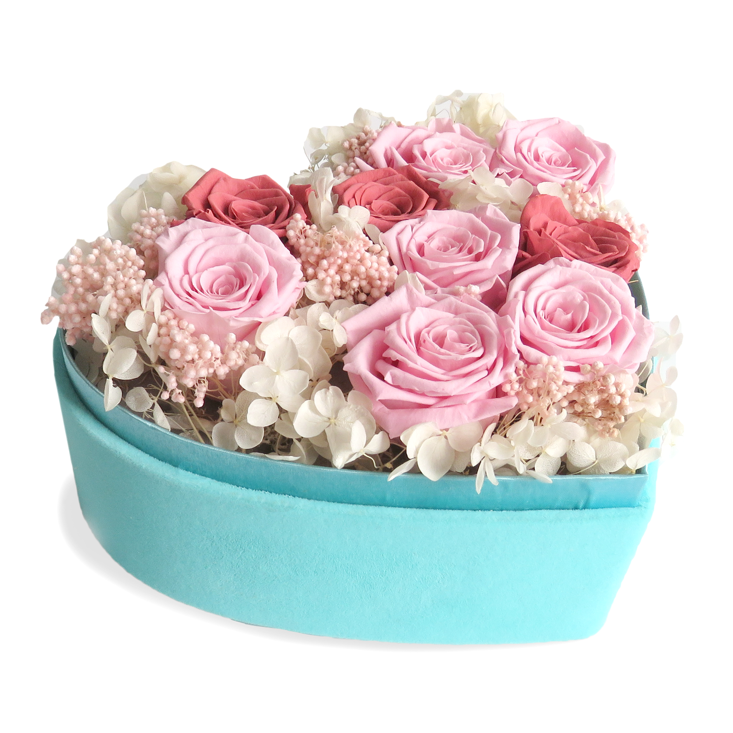 Luxury Flower Arrangement in Mint Velvet heart box