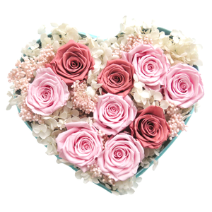 Luxury Pink and Red Flower Arrangement in Mint Velvet heart box, Top view