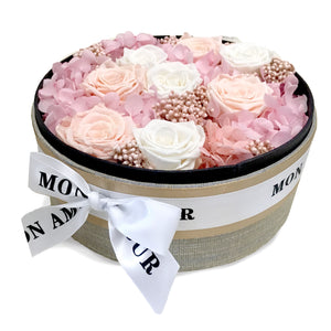 Preserved round rose box - Mon Amour Flowers - last one year with minimal care