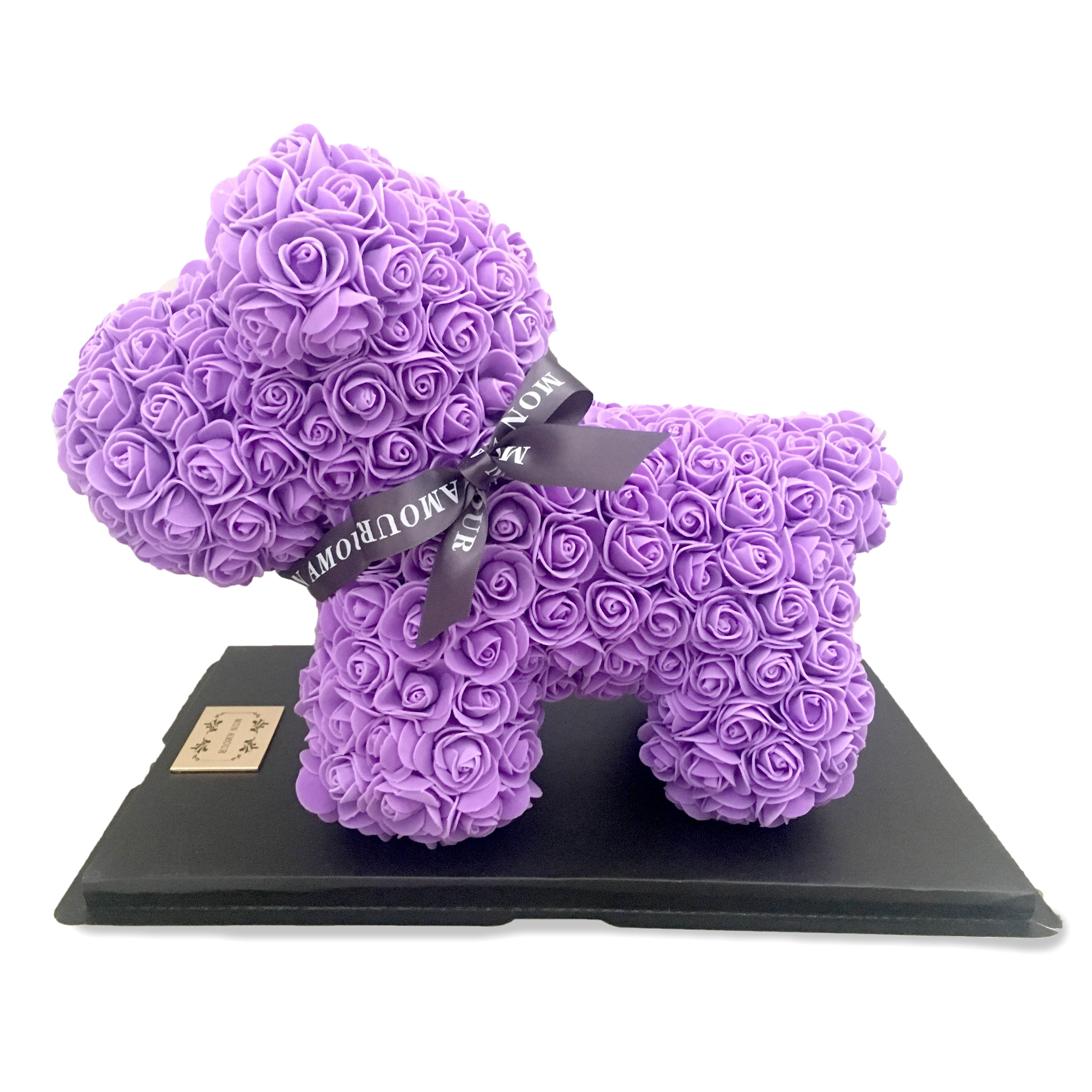 Mon Amour, Roses, with love, with care, forever, long-lasting, different kind of bloom, puppy, Puppy Collection, Dog, Blue roses, home decor, For Her, Purple, Cute