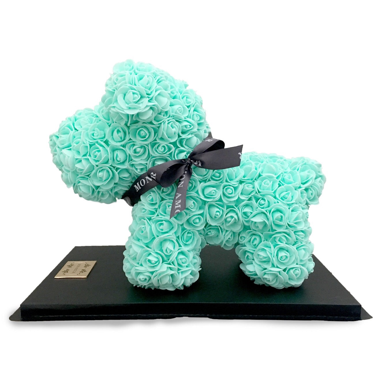 Mon Amour, Roses, puppy, Dog, Blue roses, home decor, For Her, Mint, Green, Cute