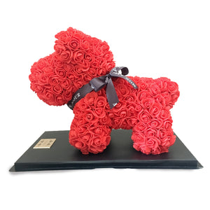 Mon Amour, collection, red, Roses, puppy, Dog, Blue roses, home decor, luxury