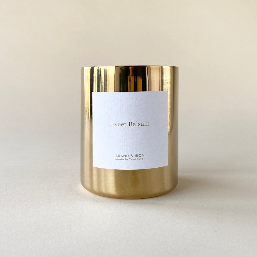 Brand and Iron Sweet Balsam Gold Candle