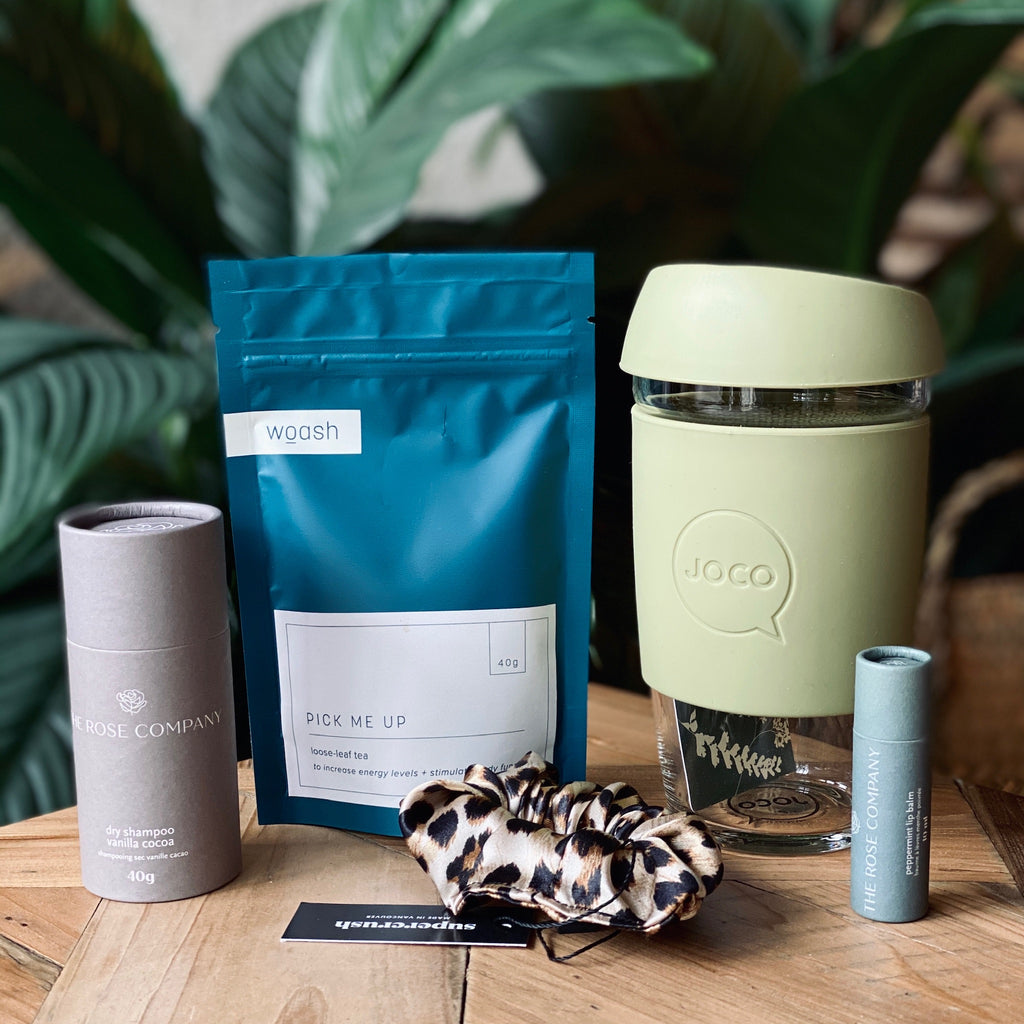 Sustainable Travel Mug, Lip Balm, Tea, Scrunchie, and Dry Shampoo Bundle