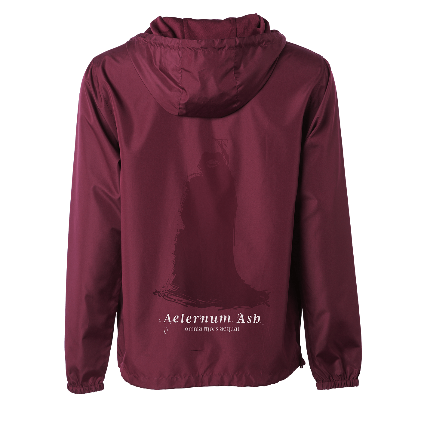 aeternum ash death makes all things equal windbreaker maroon