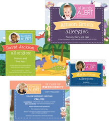 Assorted products from AllergyAlert including Woodland, Dino and Monster Placemats plus Bentley Emergency Magnet