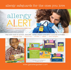 Ad for AllergyAlert featuring products and customers