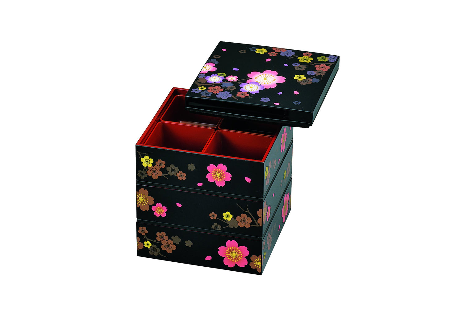 Colorful Sakura Three Tier Picnic Bento Box by Hakoya - Bento&co Japanese Bento Lunch Boxes and Kitchenware Specialists