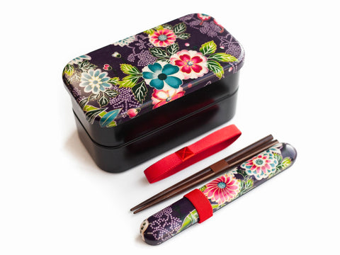 Simple Kimono Bento Bundle | Murasaki Large by Bento&co - Bento&co Japanese Bento Lunch Boxes and Kitchenware Specialists