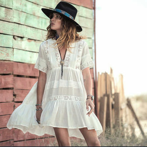 White Sweet Lace Empire Beach Dress