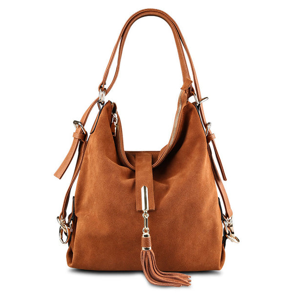 Tassled Front Suede Leather Shoulder Bag